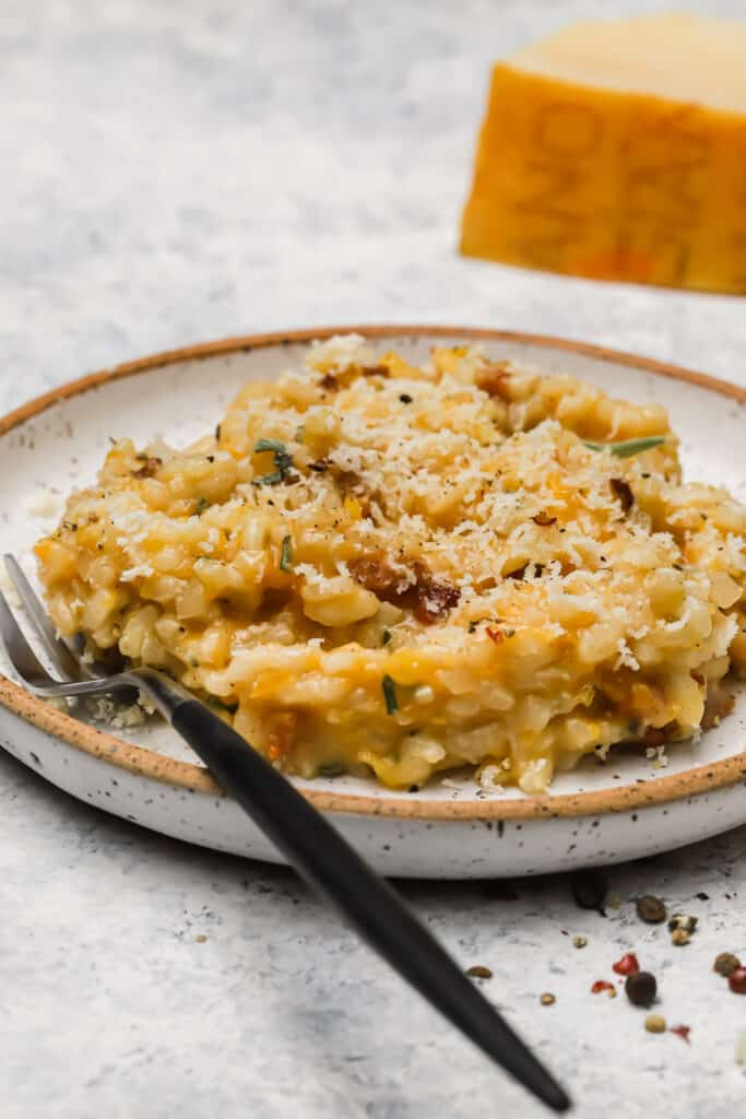 Butternut squash risotto with pancetta on a plate