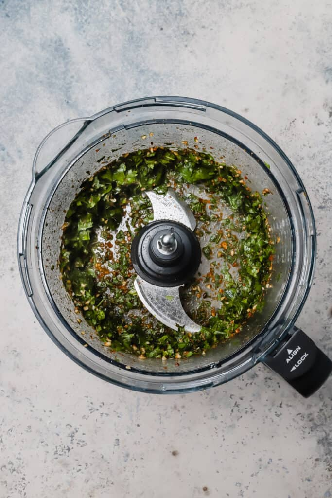 Herbs and spices blended in a food processor