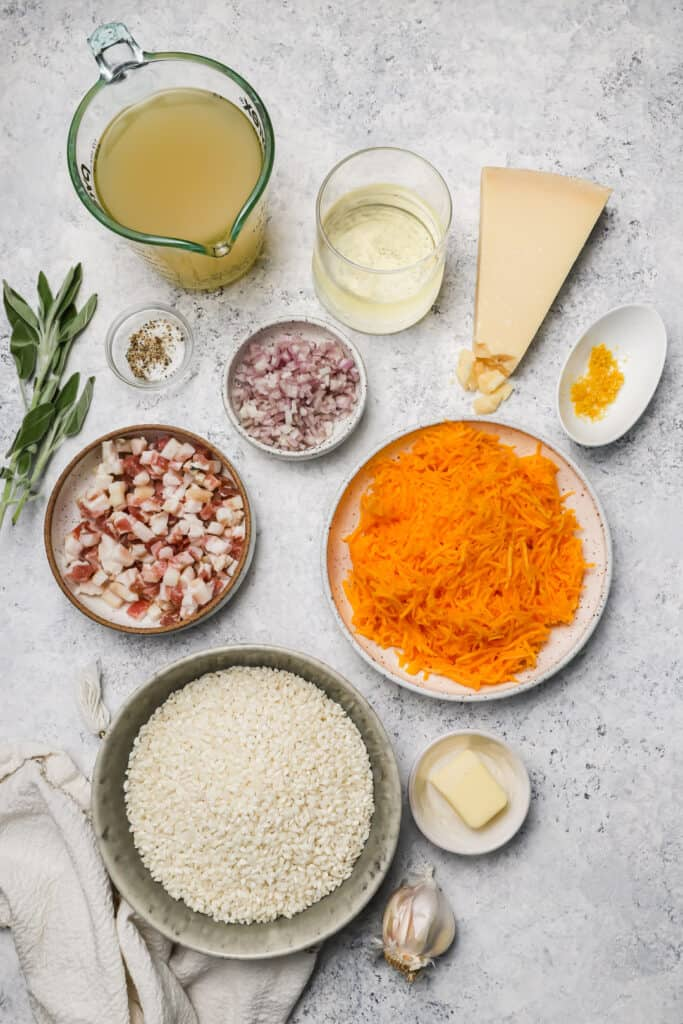 Ingredients for butternut squash risotto
