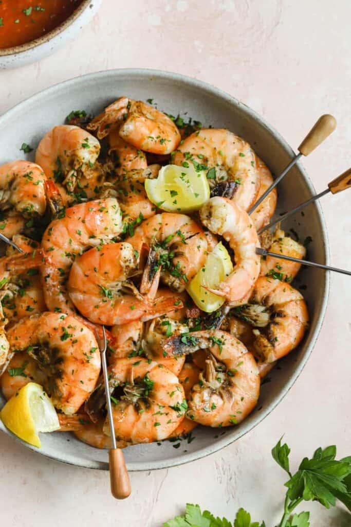 Old Bay steamed shrimp in a bowl