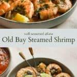 Old Bay steamed shrimp pinterest graphic