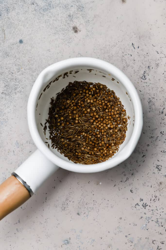 Toasted cumin and coriander seeds