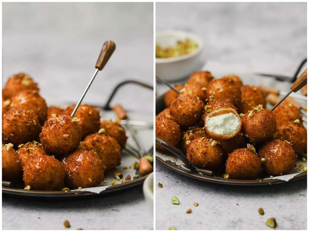 Fried goat cheese balls with truffle honey and pistachios on a plate