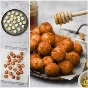 Drizzling honey on goat cheese balls