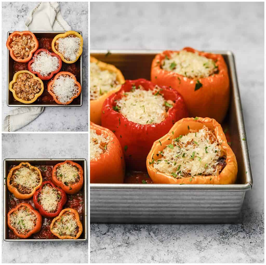 Sausage stuffed peppers in a baking dish with grated parmesan on top