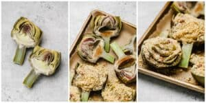 Stuffed peppers with breadcrumbs on a baking tray