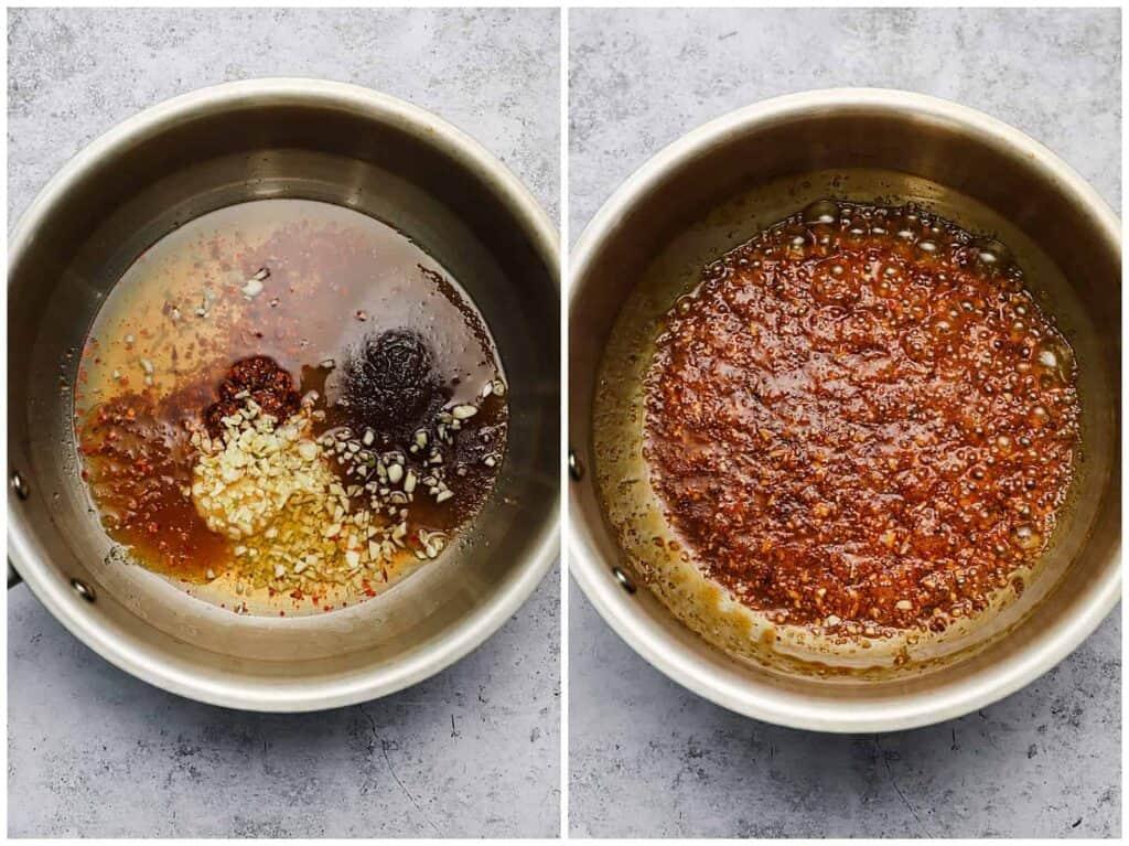 Chili bourbon glaze in a sauce pan
