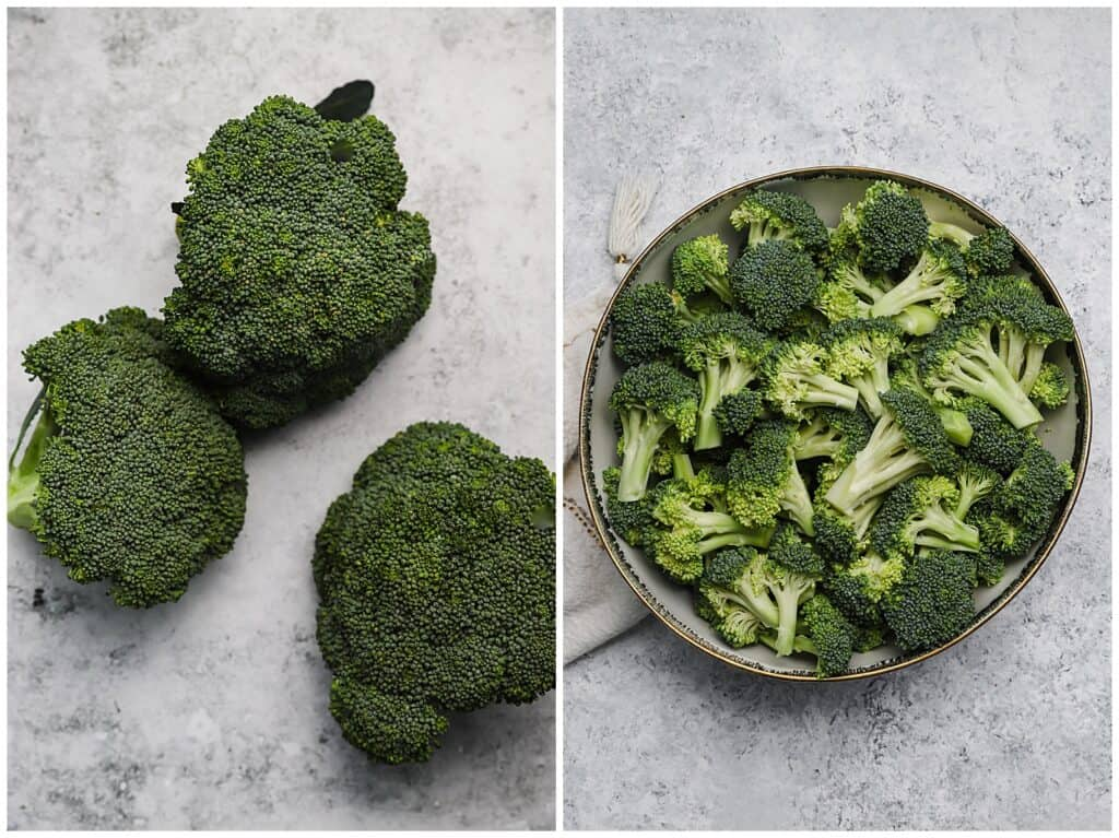 Cut broccoli florets in a large bowl