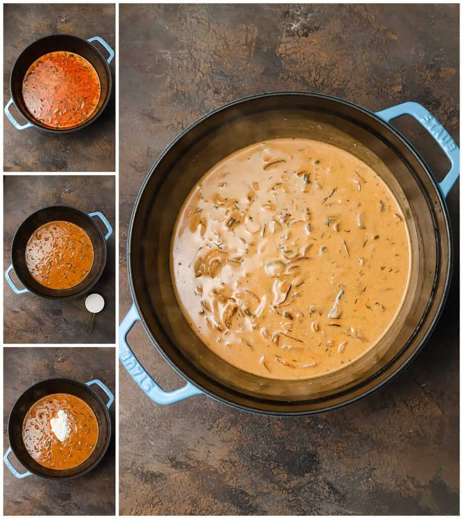 Adding sour cream to mushroom soup in a large pot