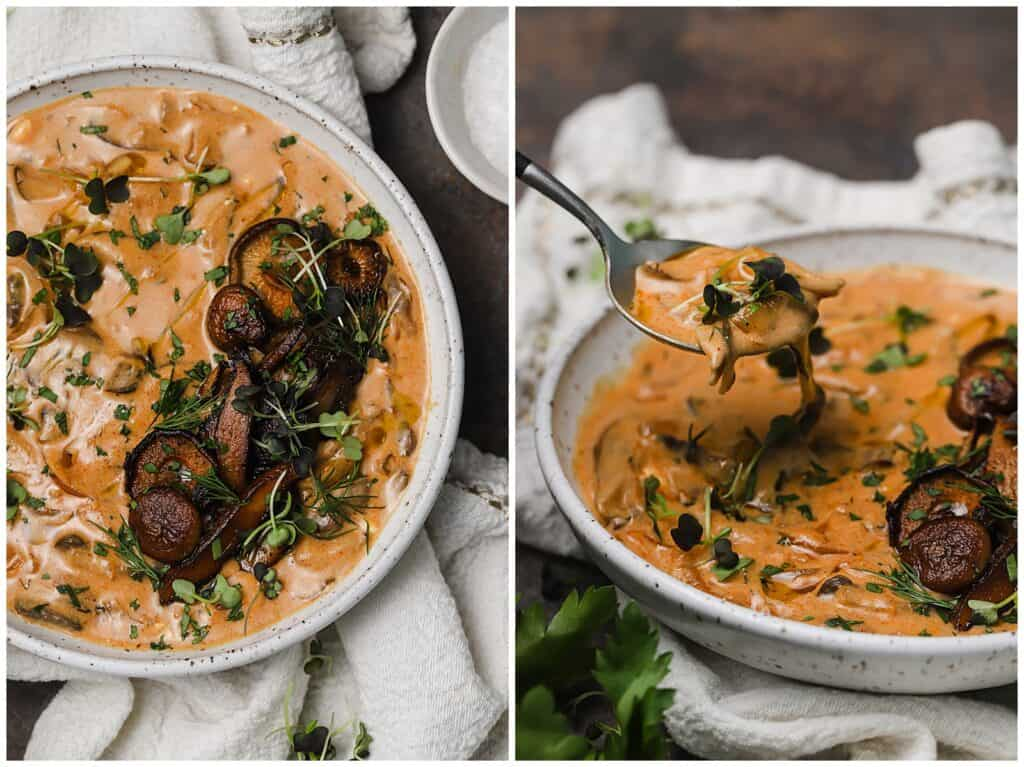 Mushroom soup in a bowl with sautéed mushrooms on top