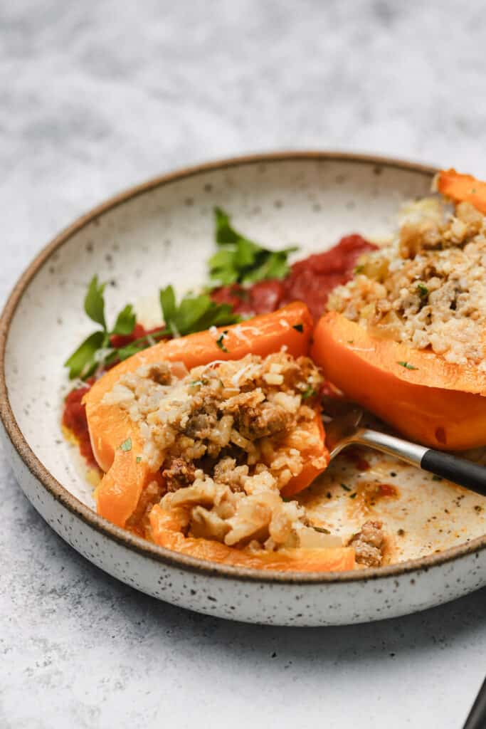 Baked stuffed peppers on a plate