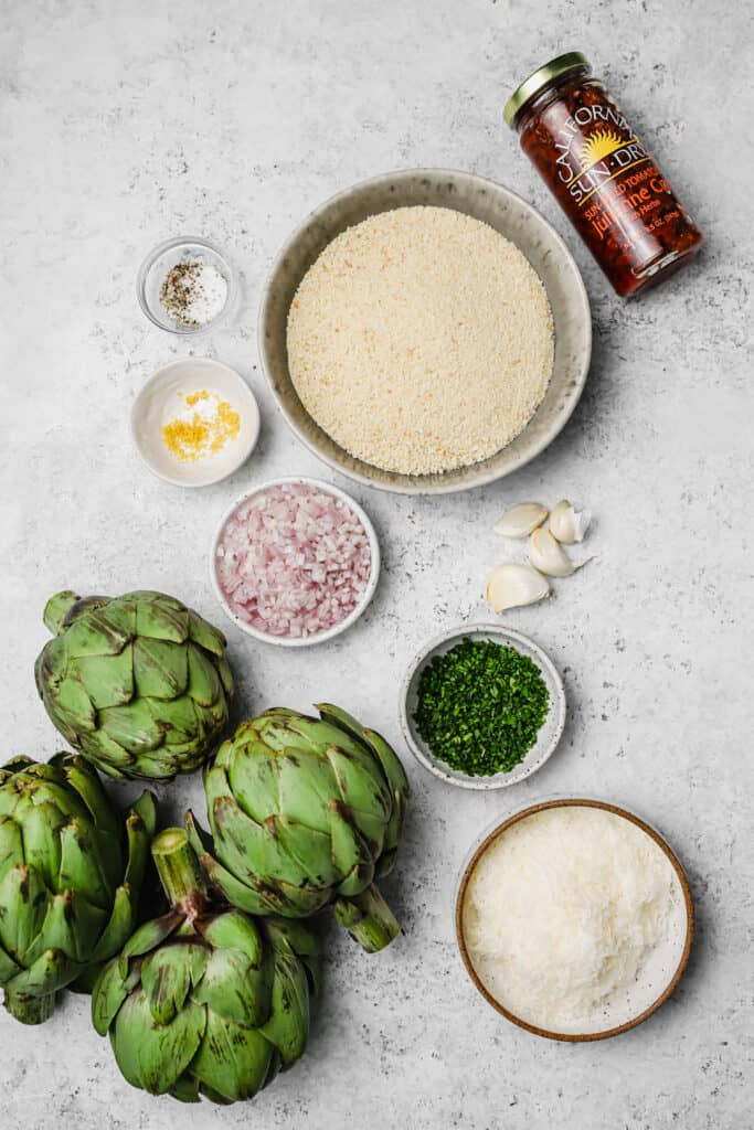 Ingredients for stuffed artichokes with California Sun Dry