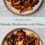 Maitake mushroom with nduja pinterest graphic