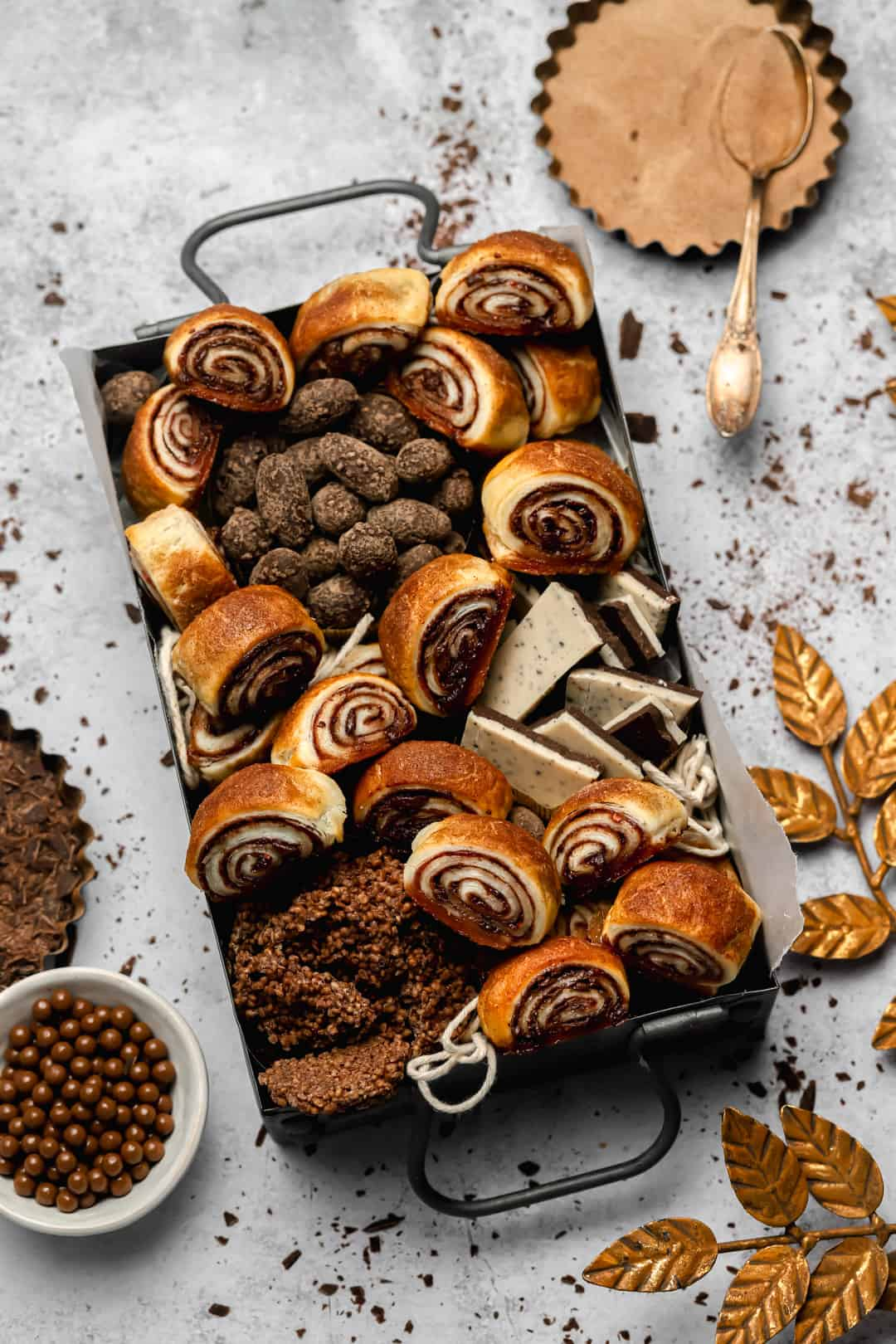 Rugelach cookie box with assorted chocolates