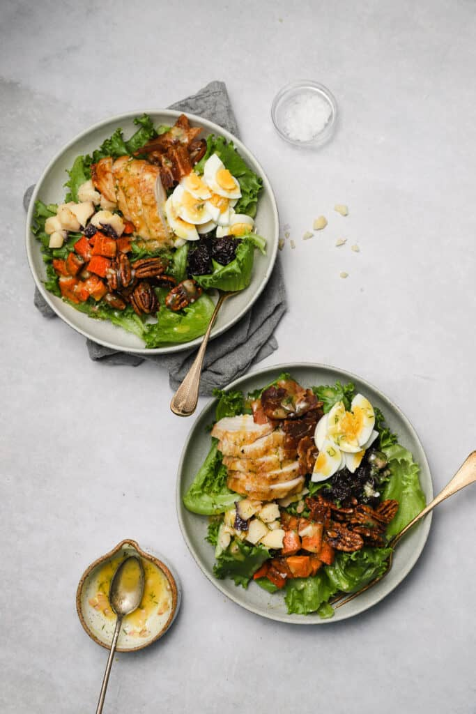 Two harvest cobb salads with dijon vinaigrette