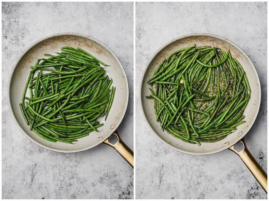 Sautéing French green beans in a skillet
