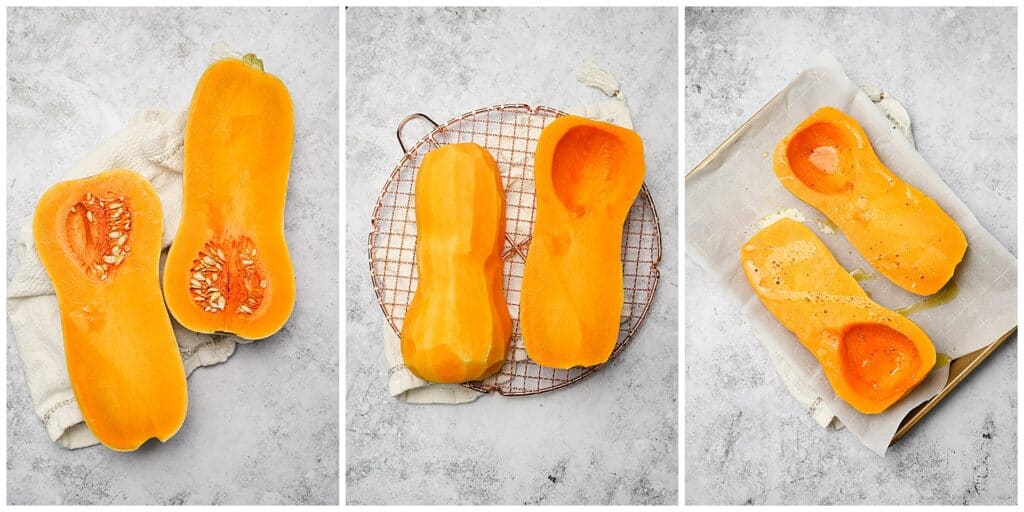 Halved butternut squash, cleaned and placed on a baking sheet