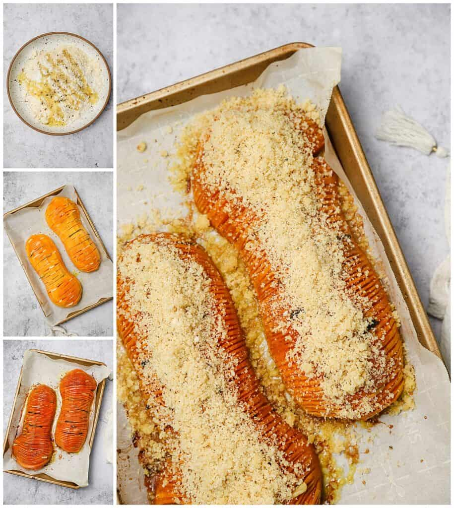 Roasted butternut squash with breadcrumbs