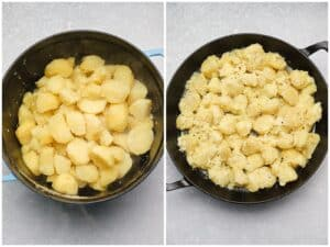 Boiled potatoes in a large pot