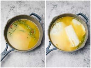 Clarified butter for poaching in a pan