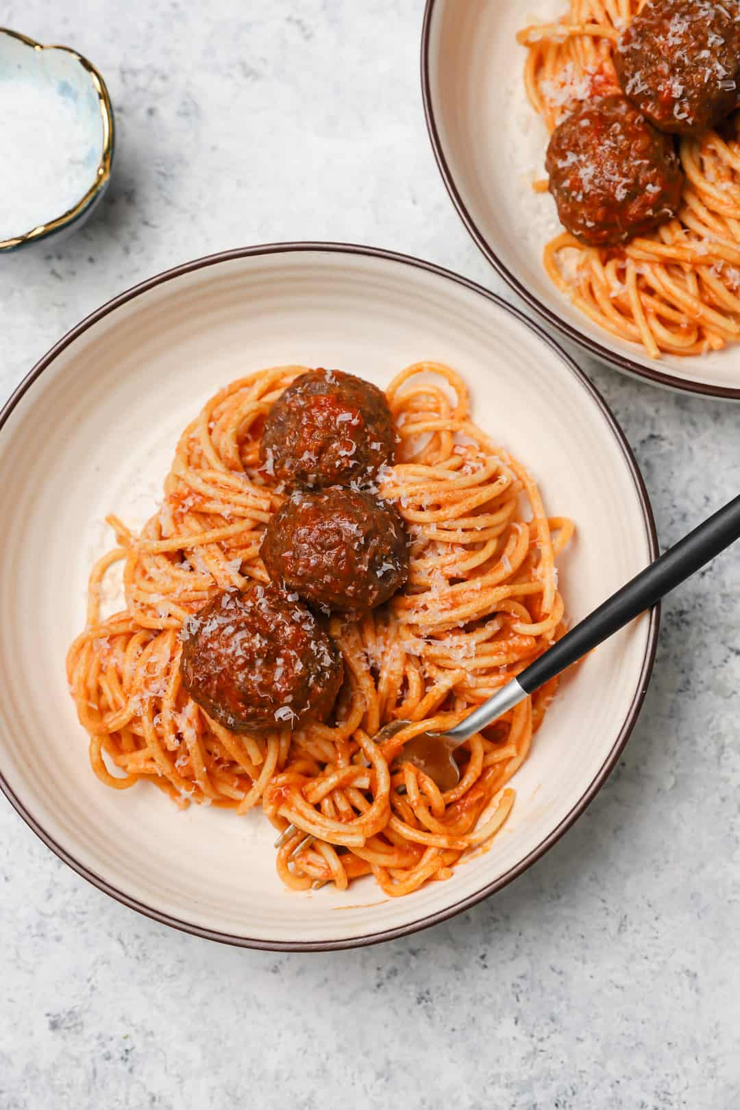 Classic homemade meatballs and spaghetti in a bowl