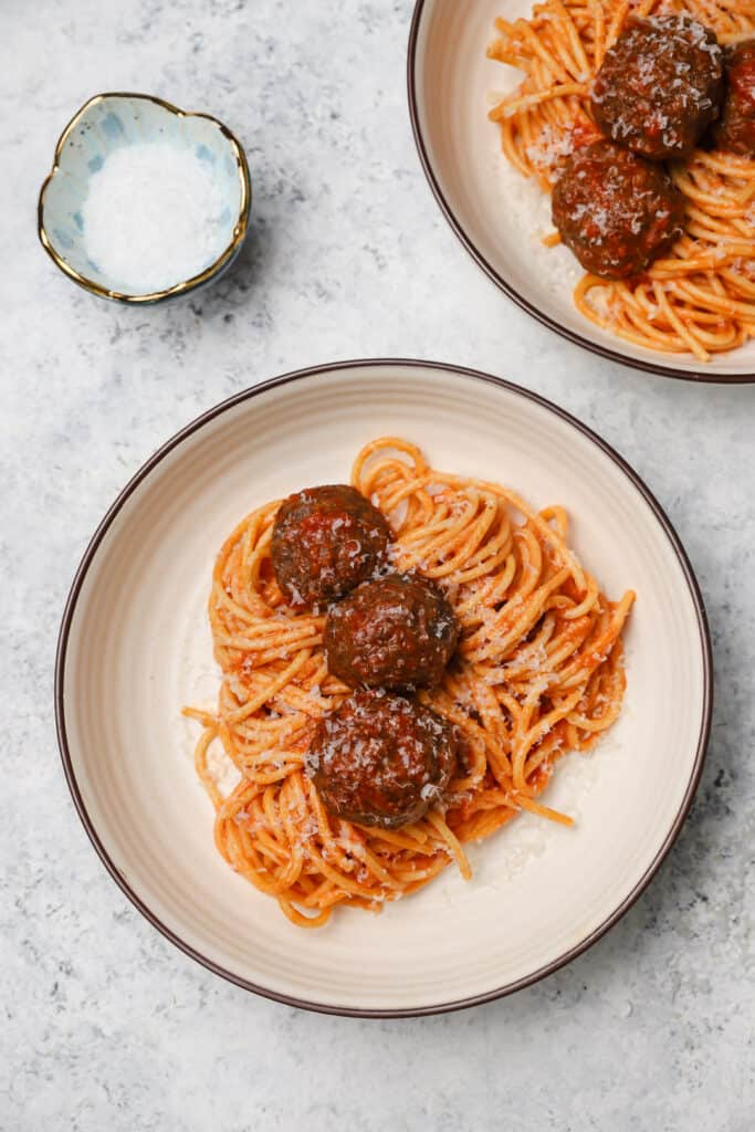 Classic spaghetti and meatballs in a bowl