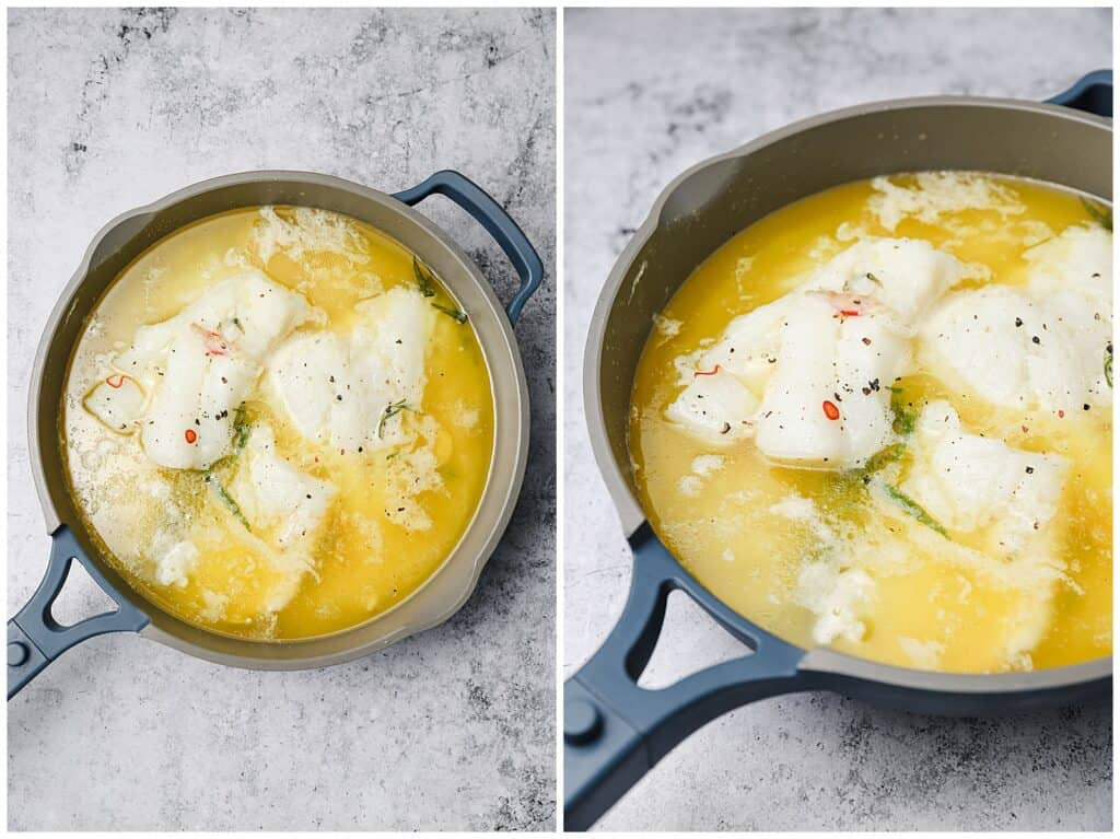 Cod cooking in clarified butter