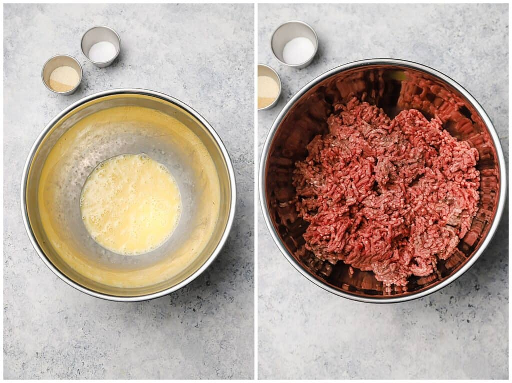 Egg and ground beef in a bowl