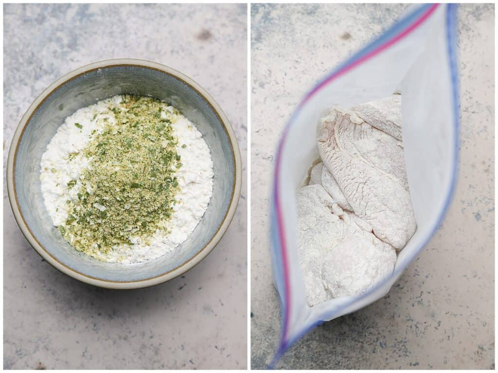 Flour dredge for chicken in a bag