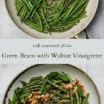 Green beans in walnut vinaigrette pinterest graphic