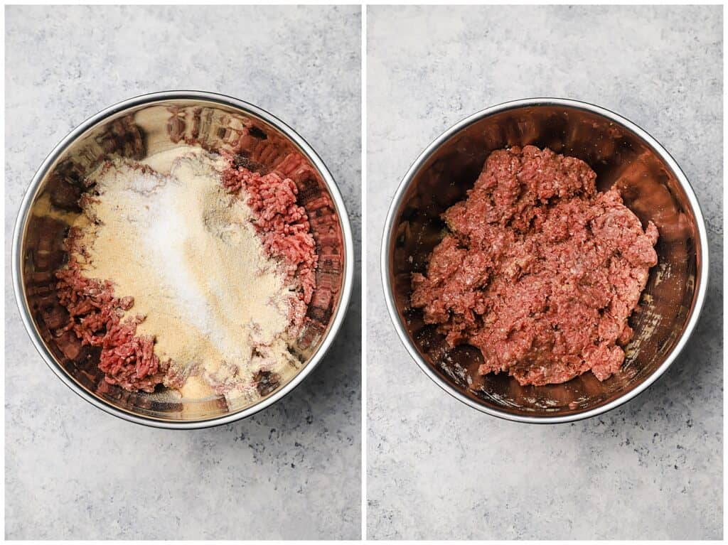Mixing beef meatballs in a mixing bowl