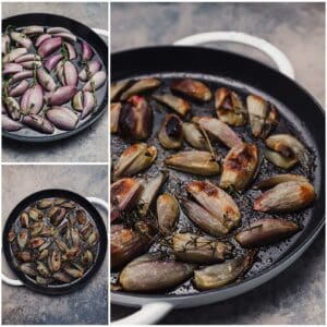 Roasted shallots in a cast iron with thyme