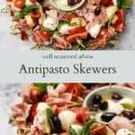Antipasto Skewers pinterest graphic