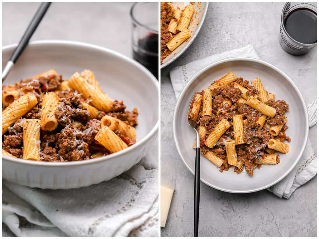 Authentic pasta bolognese in a bowl