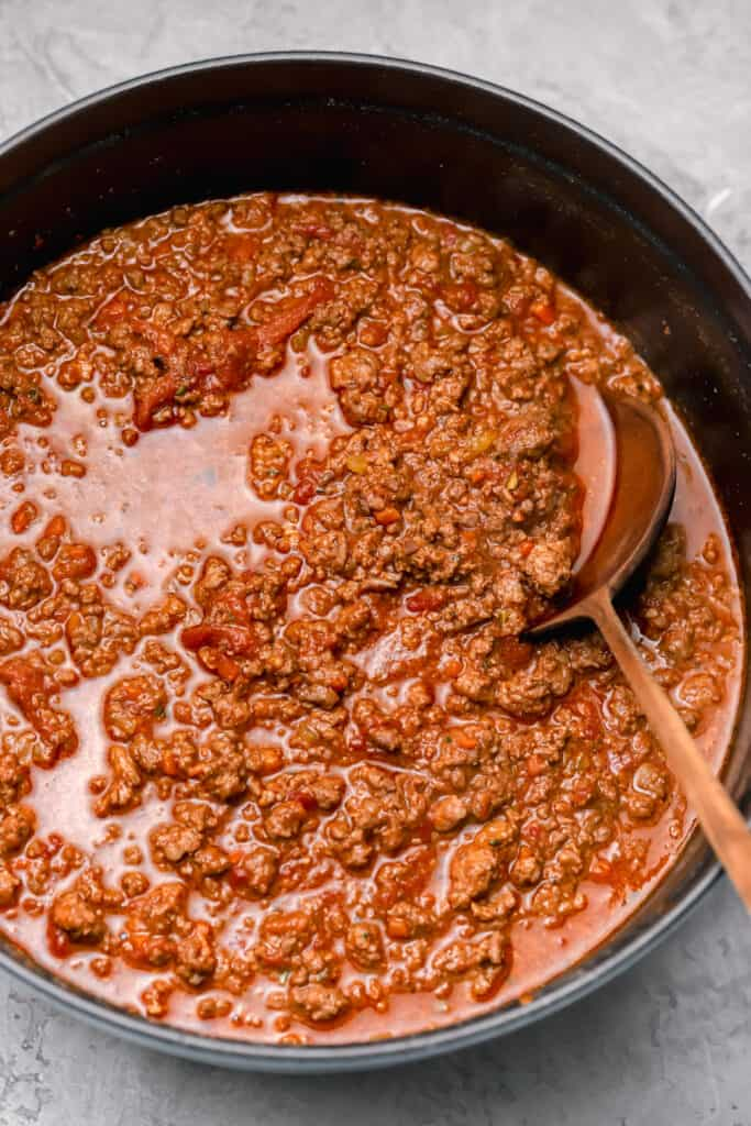 Bolognese sauce in a dutch oven
