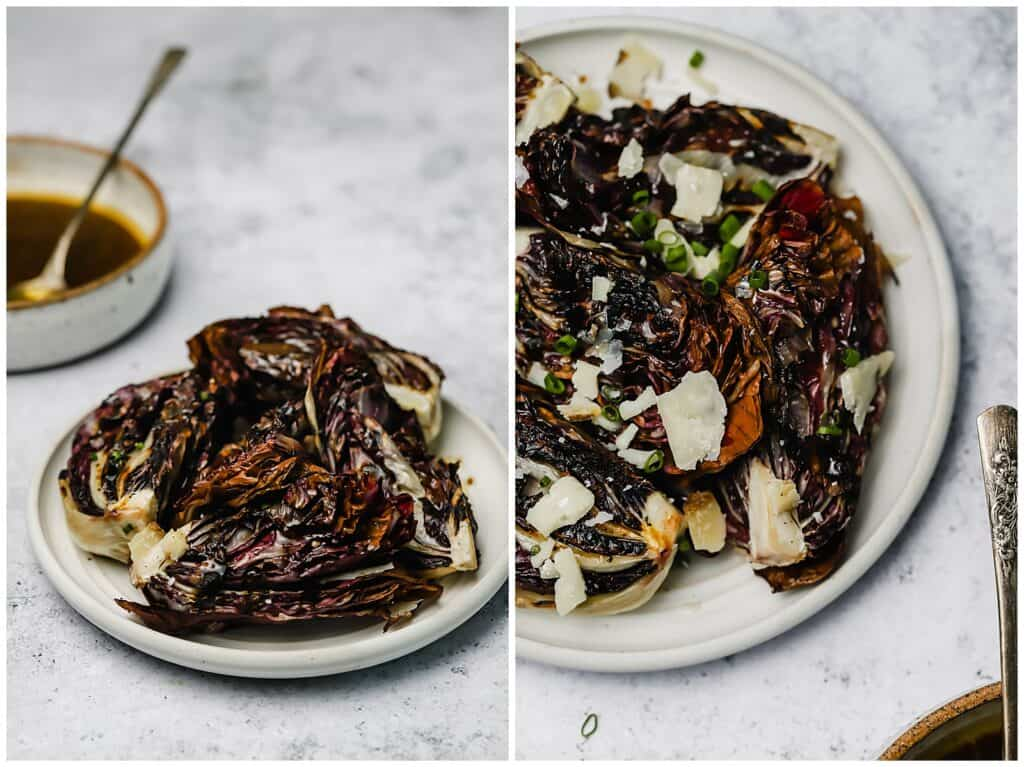 Close up of radicchio salad with balsamic and cheese