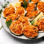 Close up of stuffed clams on a plate