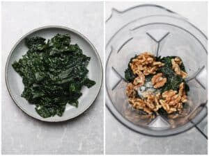 Cooked kale in a blender with walnuts