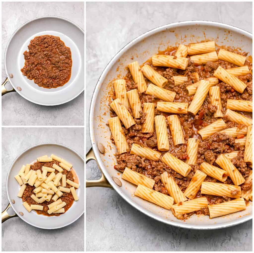 Cooking rigatoni with bolognese sauce in a skillet