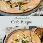 Crab Bisque pinterest graphic