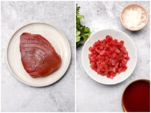Diced raw ahi tuna in a bowl