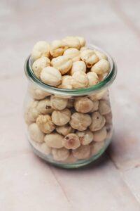 Easy roasted hazelnuts in a jar