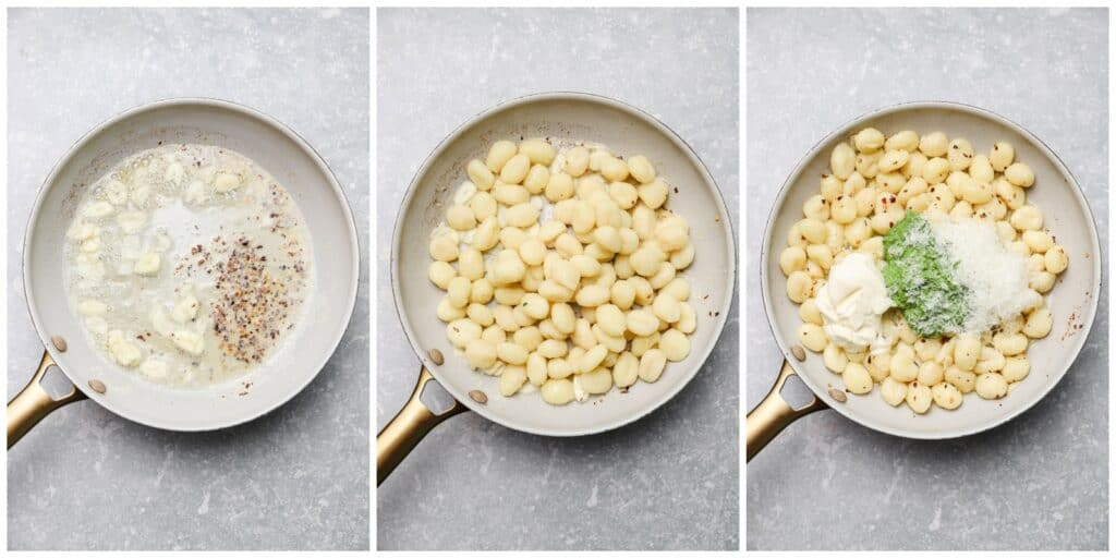 Gnocchi with kale sauce in a skillet