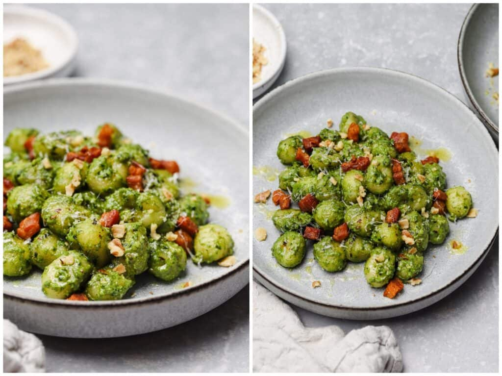 Kale gnocchi on a plate with walnuts and pancetta