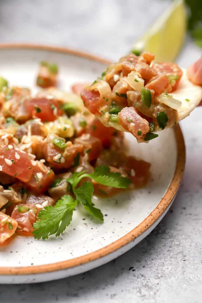 Raw marinated tuna on a rice cracker