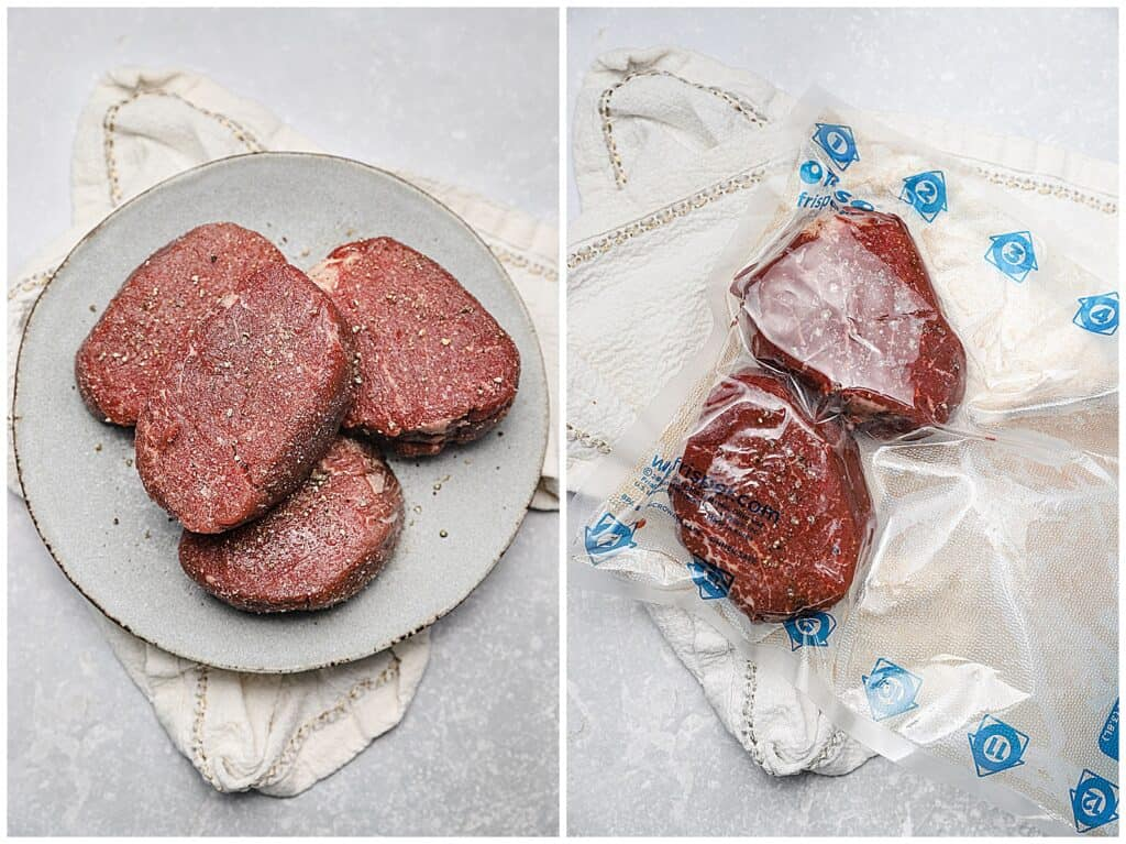 Seasoned filet mignon in a vacuum sealed bag