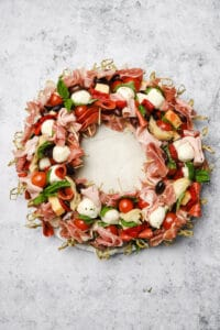 Skewers arranged to make an Italian cold cut wreath
