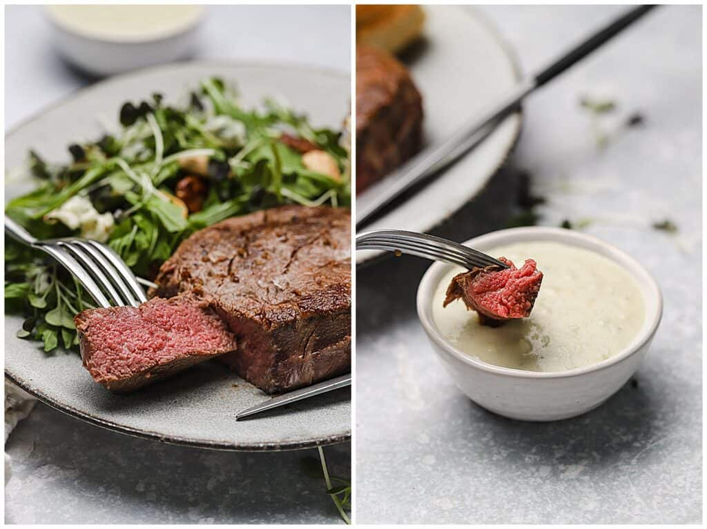 Sous vide filet mignon on a plate with gorgonzola sauce