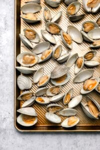 Steamed clams on a plate