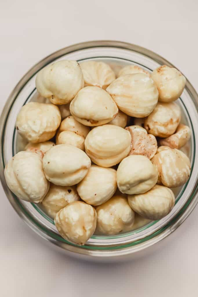 Stored hazelnuts in a glass jar